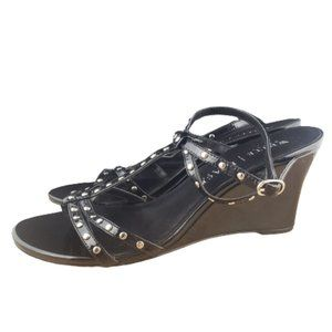 WHBM Black Studded Strappy Sandle Wedge Size 8.5